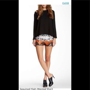 Pants - Sequined High waisted shorts